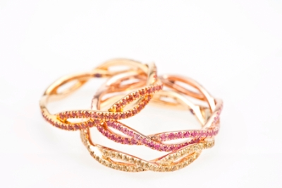 Etername-Sarah-Besainou-3-Entrelacs-rings-yellow-gold-pink-and-orange-sapphires