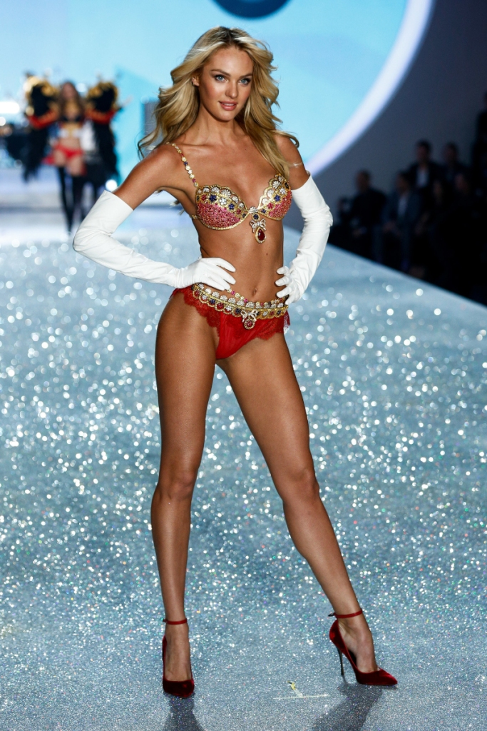 Candice Swanepoel walks the runway at the 2013 Victoria's Secret Fashion Show in New York City on November 13th, 2013