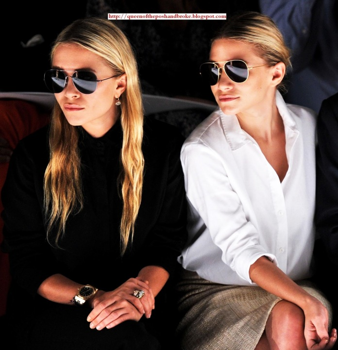 Mary Kate and Ashley Olsen J. Mendel front row