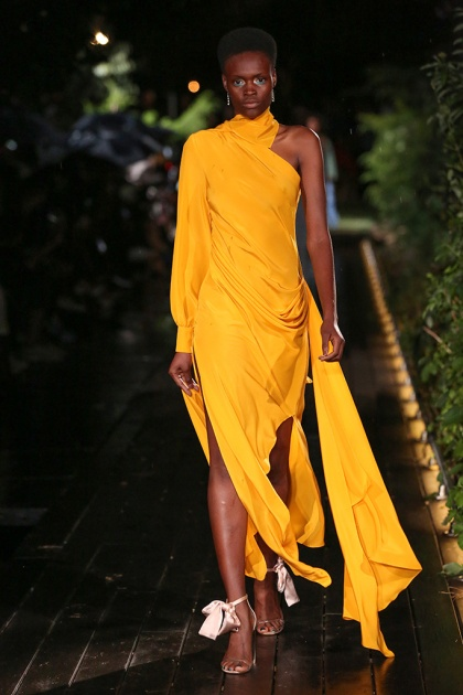 Mandatory Credit: Photo by Masato Onoda/WWD/REX/Shutterstock (9877081z) Model on the catwalk Pyer Moss show, Runway, Spring Summer 2019, New York Fashion Week, USA - 08 Sep 2018